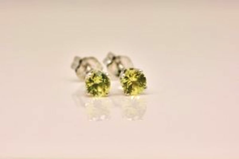 Happy Australia Day earrings. North Queensland yellow sapphire in recycled white gold.