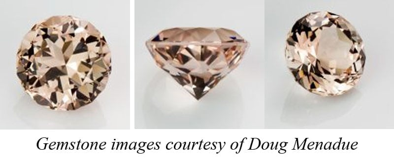 Images of a vintage morganite gemstone re-cut for a new piece of jewellery