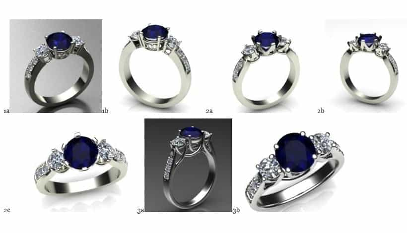 Image of CAD renders of three different designs for a sapphire and diamond ring