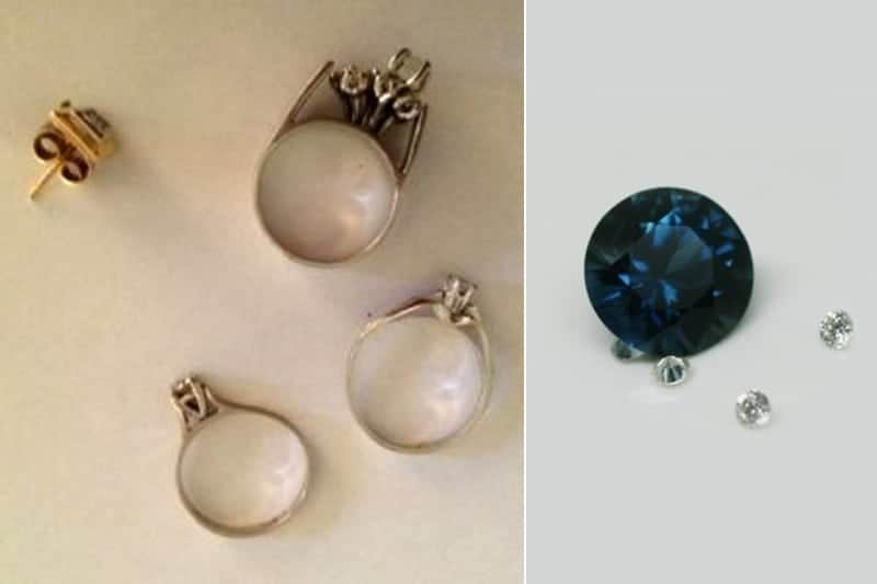 Image of old jewellery to be recycled into a new ring and a blue sapphire and small accent diamonds