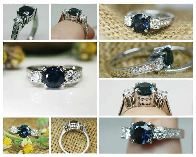 Collage of image of the finished sapphire and diamond ring