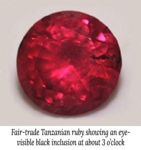 Image of a Tanzanian Fair Trade ruby showing a black inclusion