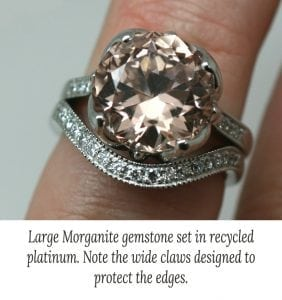 Large custom cut morganite claw set in a recycled platinum ring with matching fitted wedding ring