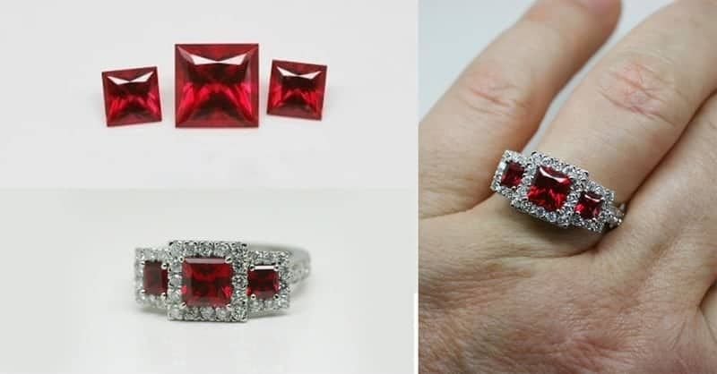 Image of Chatham lab-grown princess cut rubies - set with Argyle white diamonds in a recycled platinum engagement ring