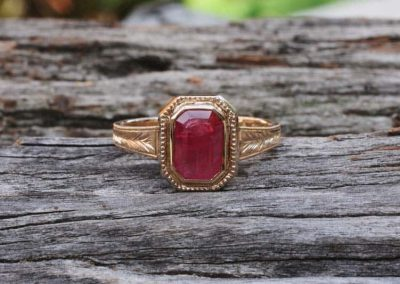 Ruby Emerald Cut Bezel Set
