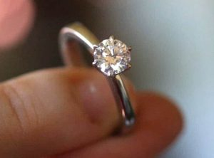 Six claw round diamond solitaire ring in recycled platinum