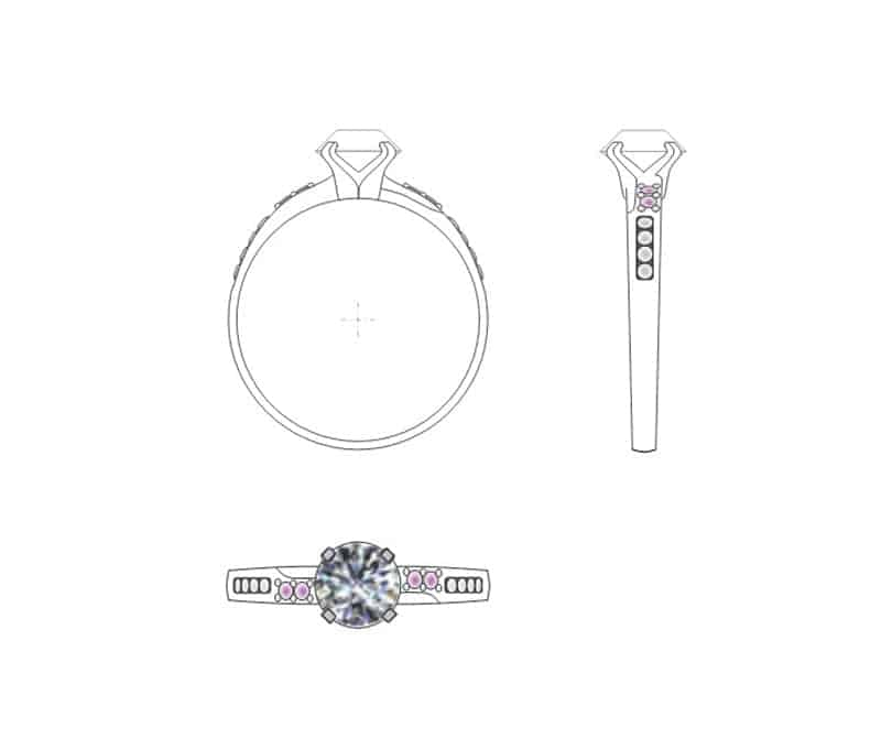 Technical drawing of an engagement ring featuring and Argyle white diamond and four small Argyle pink diamonds in the shoulders