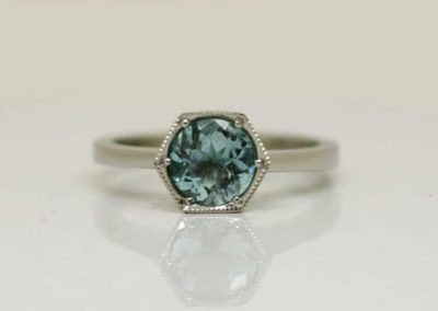 Aquamarine in Palladium Hexagonal Setting