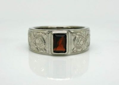 Garnet set Men's Ring