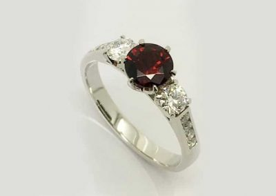 Garnet and Diamond Trilogy Ring