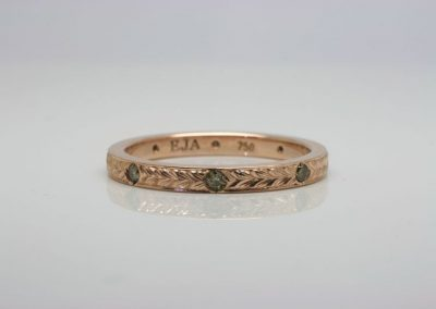 Engraved Rose Gold Ring with Diamonds