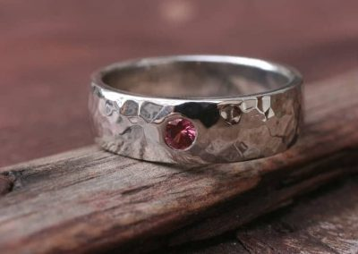 Beaten-finish Wedding Ring with Ruby