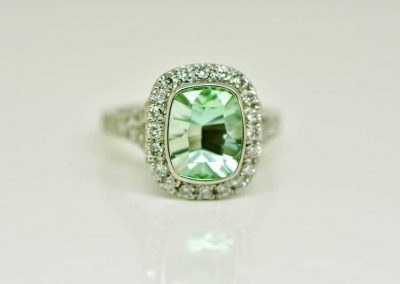 Seafoam Tourmaline Halo Ring