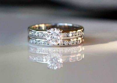 Channel set diamond wedding set