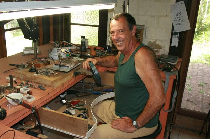 Our jeweller Chris in his Mullumbimby workshop