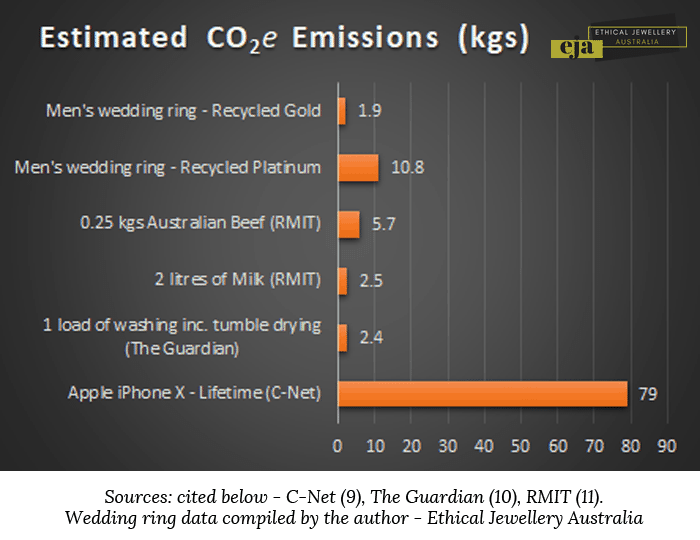 Chart showing the carbon cost of common household things like milk, meat and doing a load of washing