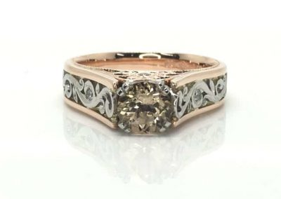 Morganite, Rose Gold and Platinum Ring