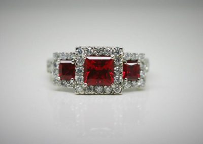 Lab ruby princess triple halo ring