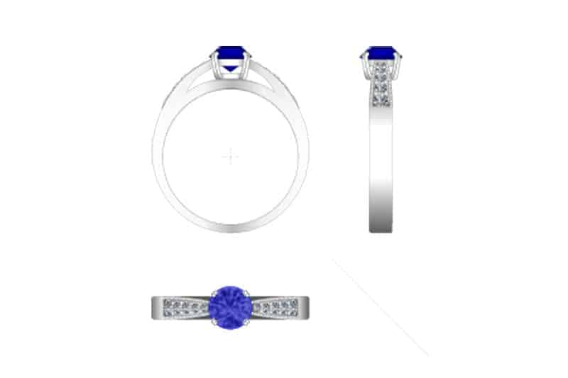 Technical drawing of a blue sapphire engagement ring with white diamonds bead set on the shoulders