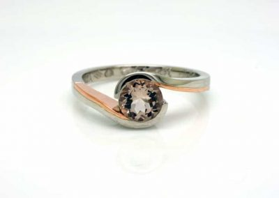 Morganite, Rose Gold and Platinum Embrace Ring