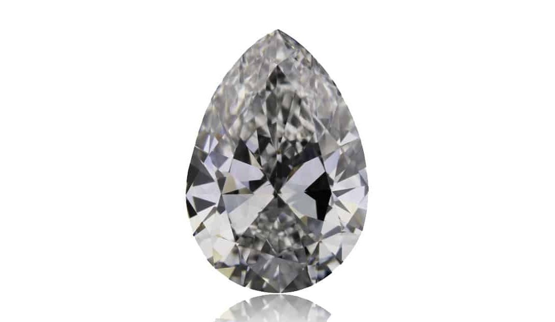 Image of 1.0 carat pear-shaped white diamond from the Argyle mine in Western Australia