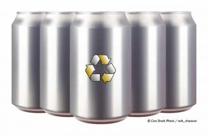 Photo of brand new aluminium drink cans with recyclable logo