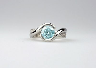 Blue Lab-grown Diamond Engagement Ring