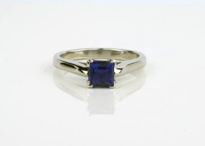 Lab-grown Blue Sapphire Engagement Ring