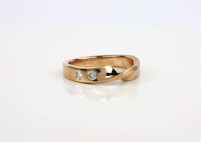 Rose Gold Mobius Twist Wedding Ring with Diamonds