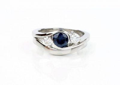 Sapphire and Lab-Diamond Embrace-style Engagement Ring & Wedder