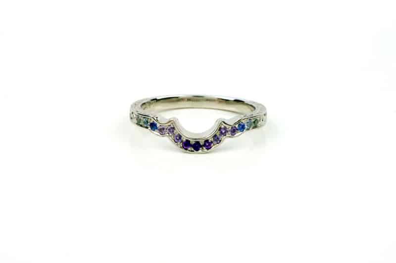 Amethyst and Sapphire Fitted Wedding Ring