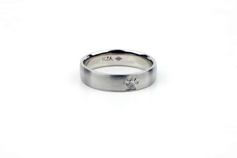 Platinum Wedding Ring with Paw Print Engraving