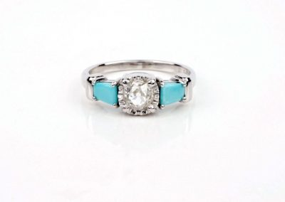 Turquoise and Rose Cut Diamond Engagement Ring