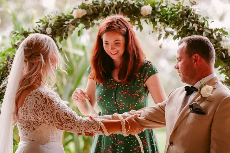 Julie Muir performing a 'knot tying' ceremony for a couple