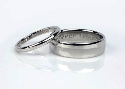 Forever Friends engraved wedding rings