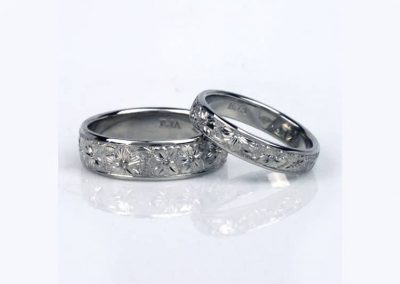 Cherry blossom engraved wedding rings